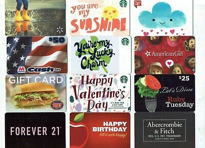 Collectible Gift Card - YOU CHOOSE 3 for $1.59- Starbucks,Ruby Tuesday,Applebees