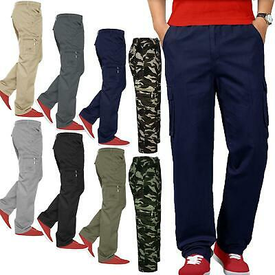 New Mens Elasticated Lightweight Cargo Combat Trousers Work Bottoms Pocket Pants
