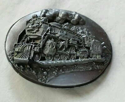Train Steam Engine 4-6-4 Railroad Heavy Pewter Vintage Belt Buckle Usa Siskiyou