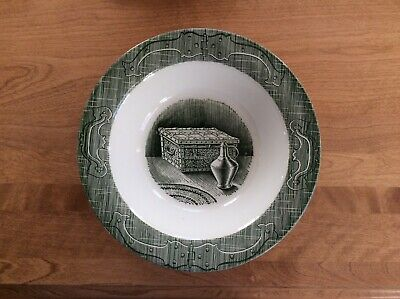 """Vtg Royal China Old Curiosity Green Vegetable 10"""" Round Bowl Chest & Pitcher NEW"""