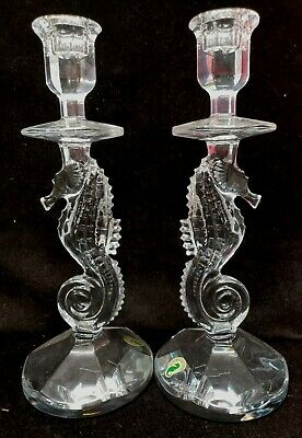 """Two (2) Waterford Crystal Seahorse 11.5"""" Candlesticks  (Dc1 4)"""
