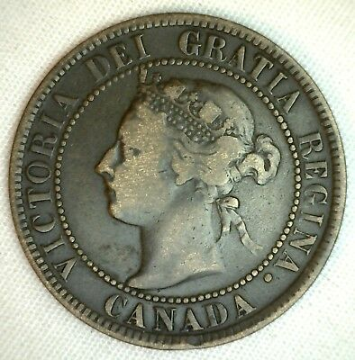 1895 Copper Canadian Large Cent One Cent Coin Very Fine  #47