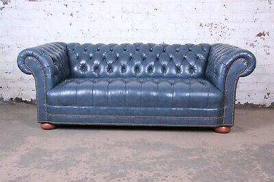 VINTAGE TUFTED BLUE Leather Chesterfield Sofa - $3,995.00 ...