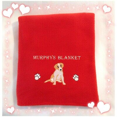 PERSONALISED JACK RUSSEL DOG fleece blanket WITH NAME AND DOG BREED DESIGN