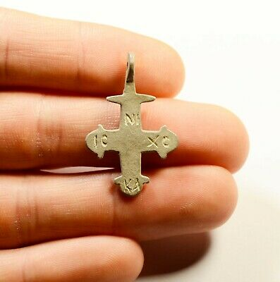 Ancient Byzantine To Medieval Silver Cross - Engraved Decorated - Wearable