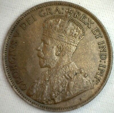 1916 Copper Canadian Large Cent Coin 1-Cent Canada AU #1