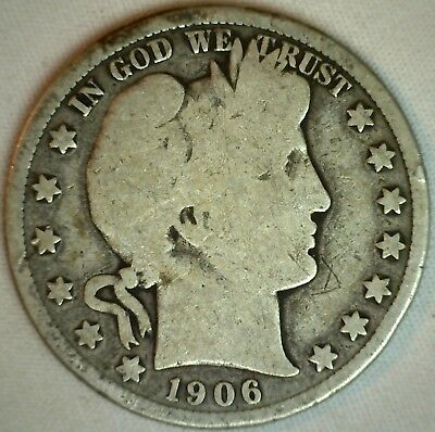 1906 D Silver Barber Half Dollar US Type Coin Fifty Cents 50c Good K1