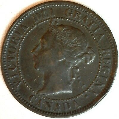 1884 Copper Canadian Large Cent One Cent Coin Very Fine #15