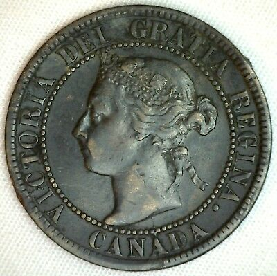 1893 Copper Canadian Large Cent One Cent Coin Very Fine 30  #36