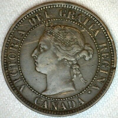 1888 Bronze Canadian Large Cent Coin One Cent Canada VF Very Fine 1c K333