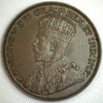 1913 Copper Canadian Large Cent Coin 1-Cent Canada AU #1