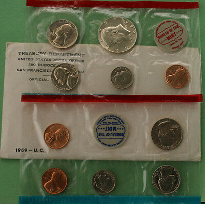1969 United States Mint Annual Uncirculated 10 Coin Set BU P and D and S Penny