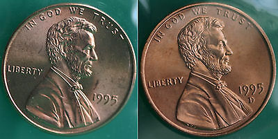 1995 P & D Lincoln Cent 2-Coin from US Mint Set UNC Cello One Cent Penny Set
