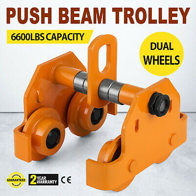 Durable 3 Ton Push Beam Trolley W/ 6000 Lbs Weight Capacity To Move Heavy Loads