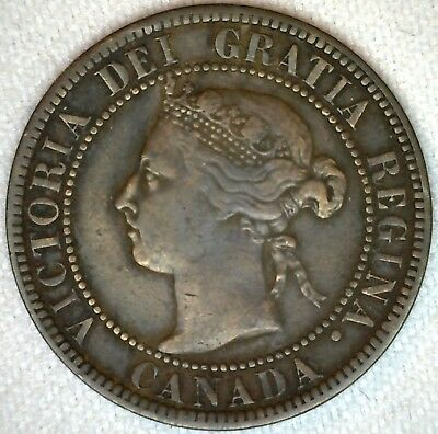 1893 Bronze Canadian Large Cent Coin One Cent Canada VF Very Fine 1c K312