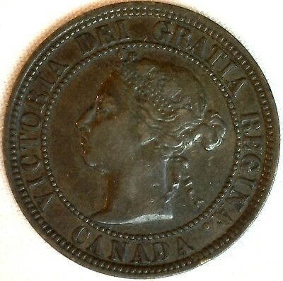 1882 H Copper Canadian Large Cent One Cent Coin Very Fine 30 #19