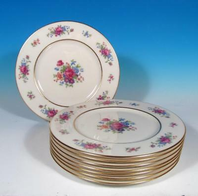 """Lenox Rose SET (8) Fine China 8 ¼"""" Salad Luncheon Plates Gold Mark EXCL!"""