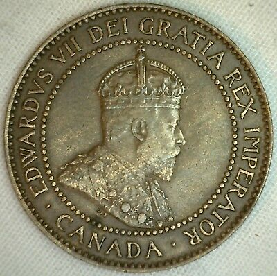 1908 Copper Canadian Large Cent Coin 1-Cent Canada XF K7