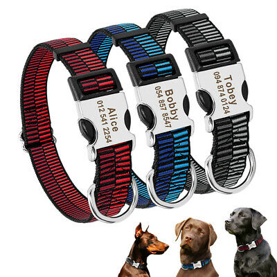 Personalized Dog Collar Nylon Dog Collar with Nameplate Tag for Puppy Large Dogs