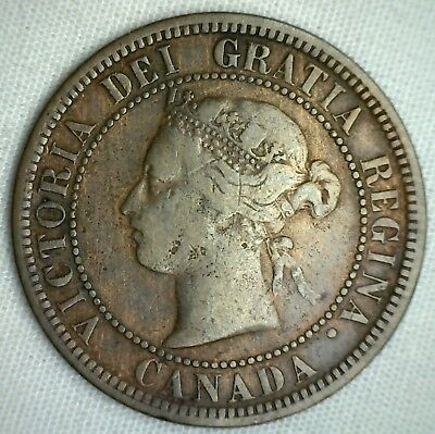 1876 H Copper Canadian Large Cent Coin 1-Cent Canada Very Good 1c B10 VG
