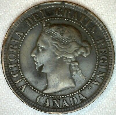 1891 Bronze Canadian Large Cent Coin One Cent Canada Fine 1c K327