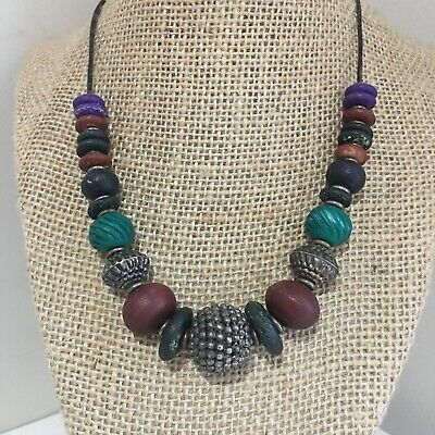 MIDDLE EASTERN ANCIENT Silver Carved Colored Bovine Bone BEAD Necklace