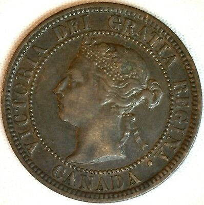 1882 H Copper Canadian Large Cent One Cent Coin XF #1