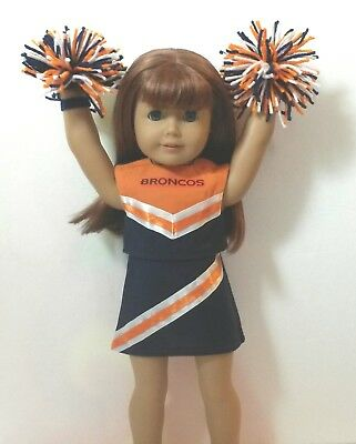 """Doll Clothes fits 18/"""" American Girl Doll Pittsburgh Steelers Cheerleader w// poms"""
