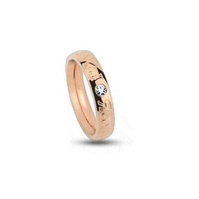Titan Ring Rose Gold 4mm Wide Engraving 'Forever Love' with Zirconia 47 (15) -