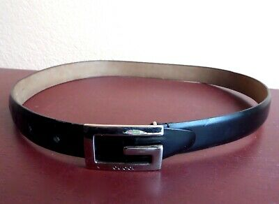 "GUCCI Vintage BLACK Leather G Belt Slim Skinny Made in Italy 28 30"" Silver EUC!"