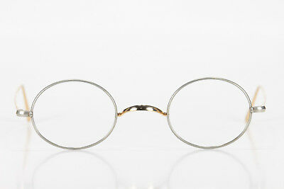 VINTAGE 1900s OVAL HIPSTER HARRY POTTER YELLOW SOLID GOLD TWO TONE EYEGLASSES