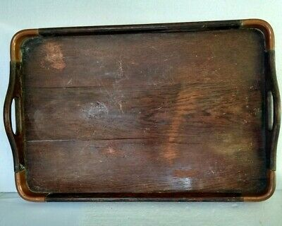 Antique Oak Wooden Drinks/Serving Tray With Copper Corners