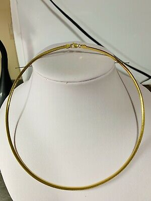 "18K Saudi Gold Omega Necklace With 16"" Long White & Gold Reversible"