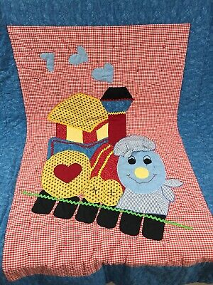 Vintage Handmade Quilt Baby Toddler Train Gingham Ric Rac Red Blue