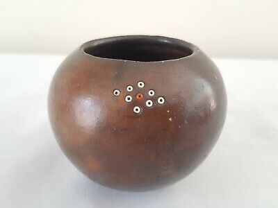 Fine Antique African Zulu Tribal Bead Pottery Clay Cup Rare