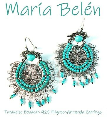 Maria Belen ~Hand Made~ARRACADA~Turquoise Beaded~Filigree 925 Oxidized Earrings