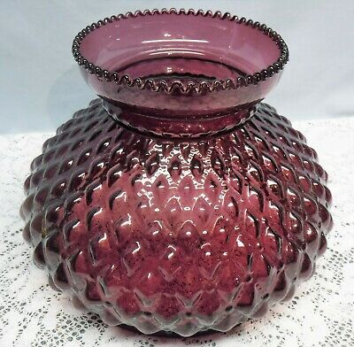 Vtg Quilted Diamond Purple Amethyst Glass Aladdin Coleman Rayo Lamp Shade Globe