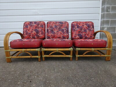 Vintage Mid-Century Modern Paul Frankl Era 1950s Tiki Rattan 3 Chairs Sofa Couch