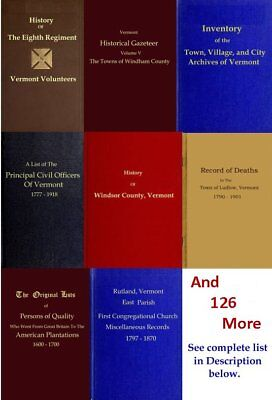 Vermont Genealogy, Family History, Records 134 Books 1600s-1900s on DVD