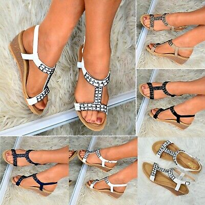 40f093cc972 Ladies Womens Casual wedges Shoes Comfy Low Heel Sandals Open toe Slingback  size