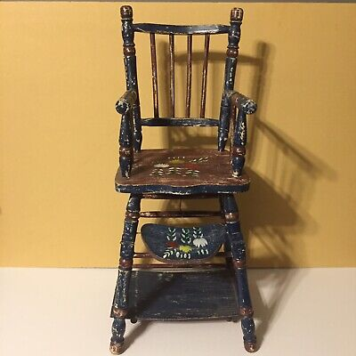 Vintage Wooden Doll High Chair Converts Into Desk Antique Collectible
