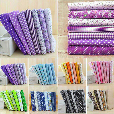 "7Pcs Cotton Fabric Assorted Pre Cut Charm Quilt  DIY Craft Gift 10""Squares"