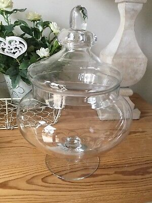 Shabby Chic Decorative Glass Bon Bon Vintage Jar Wedding Home Decor  Large 30cm