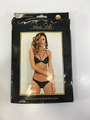 fdf723415 Rene Rofe Sexy Womens 2pc Strapped In Bra   Thong Set Size S M Black