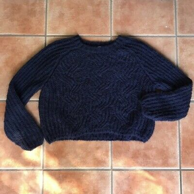 247981a6fa845 URBAN OUTFITTERS KIMCHI Blue Sweater Navy Blue Knit Cropped Fuzzy S ...
