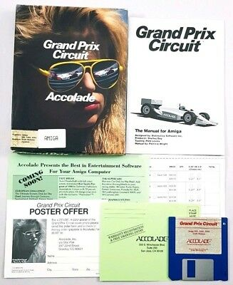Grand Prix Circuit Accolade Amiga Game Complete with Maunal Vintage PC