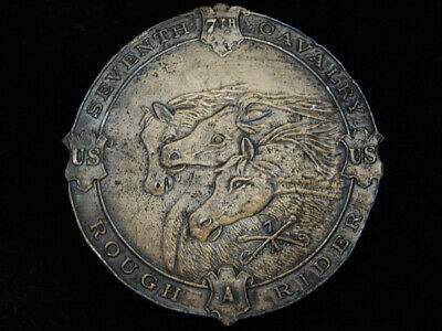 PI15136 VINTAGE 1970s **7TH CAVALRY ROUGH RIDERS** CIVIL WAR MILITARY BUCKLE