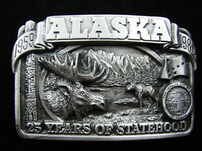 Rg07142 *Nos* Vintage 1984 **Alaska** Statehood Commemorative Belt Buckle