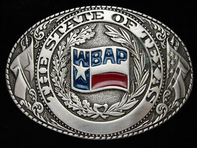 PF11145 *NOS* VINTAGE 1970s **WBAP TEXAS RADIO STATION** MUSIC PEWTER BUCKLE