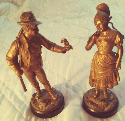 PAIR OF ANTIQUE CAST METAL FIGURAL CLOCK TOPPERS Heavy Brass? 6.5""
